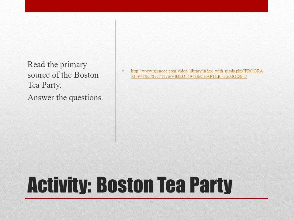 Activity: Boston Tea Party