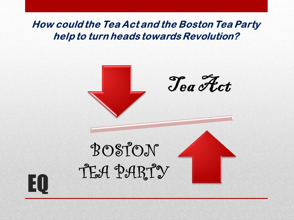Tea Act EQ BOSTON TEA PARTY