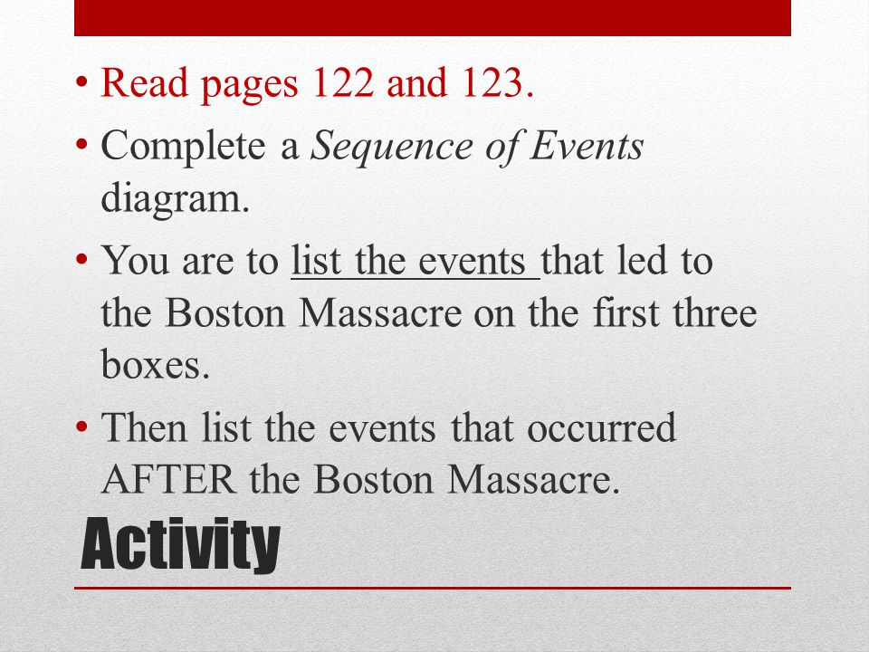 Activity Read pages 122 and 123.
