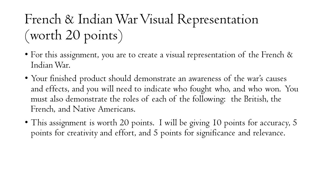 French & Indian War Visual Representation (worth 20 points)
