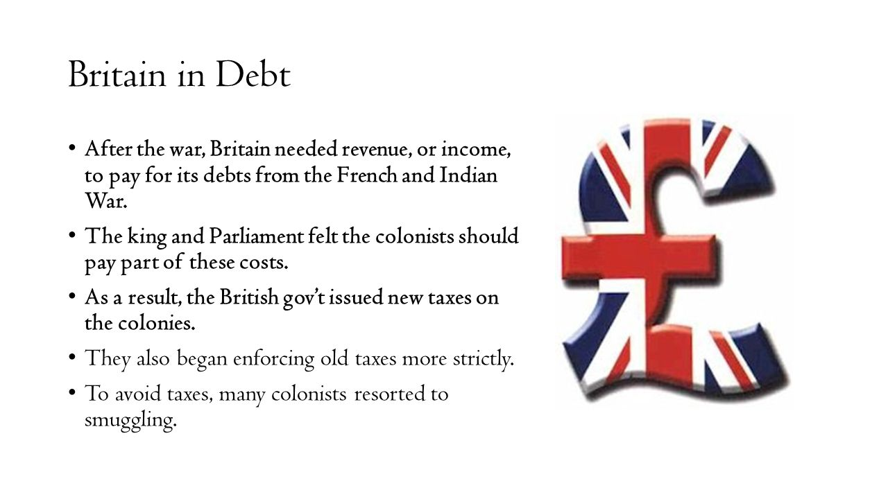 Britain in Debt After the war, Britain needed revenue, or income, to pay for its debts from the French and Indian War.