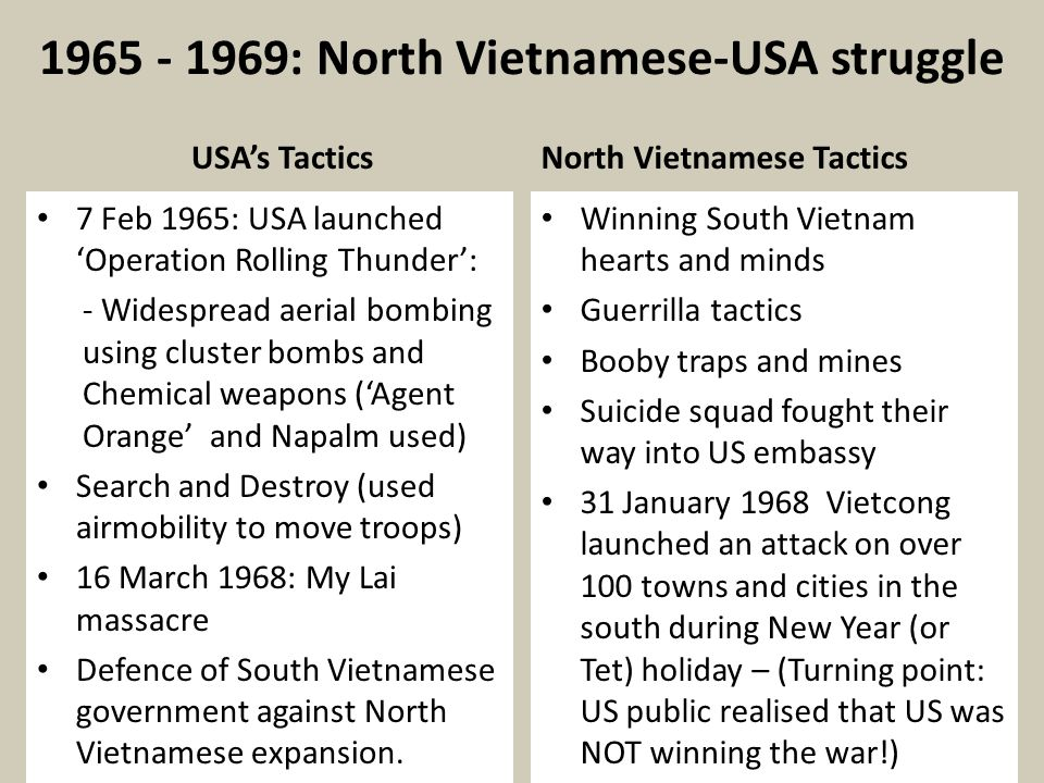 1965 - 1969: North Vietnamese-USA struggle