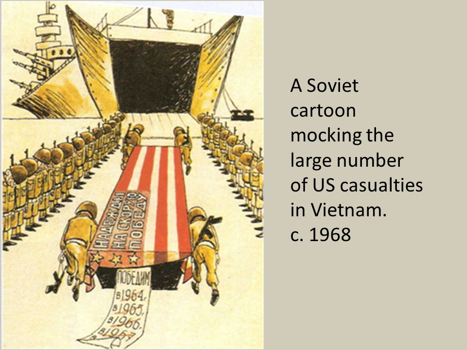 A Soviet cartoon mocking the large number of US casualties in Vietnam.