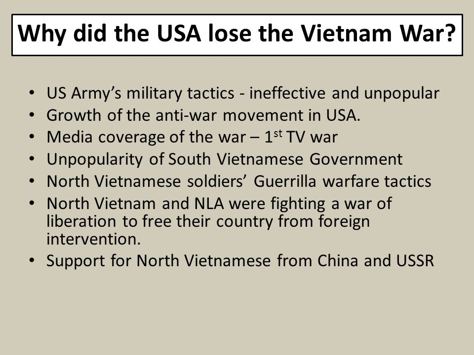 Why did the USA lose the Vietnam War