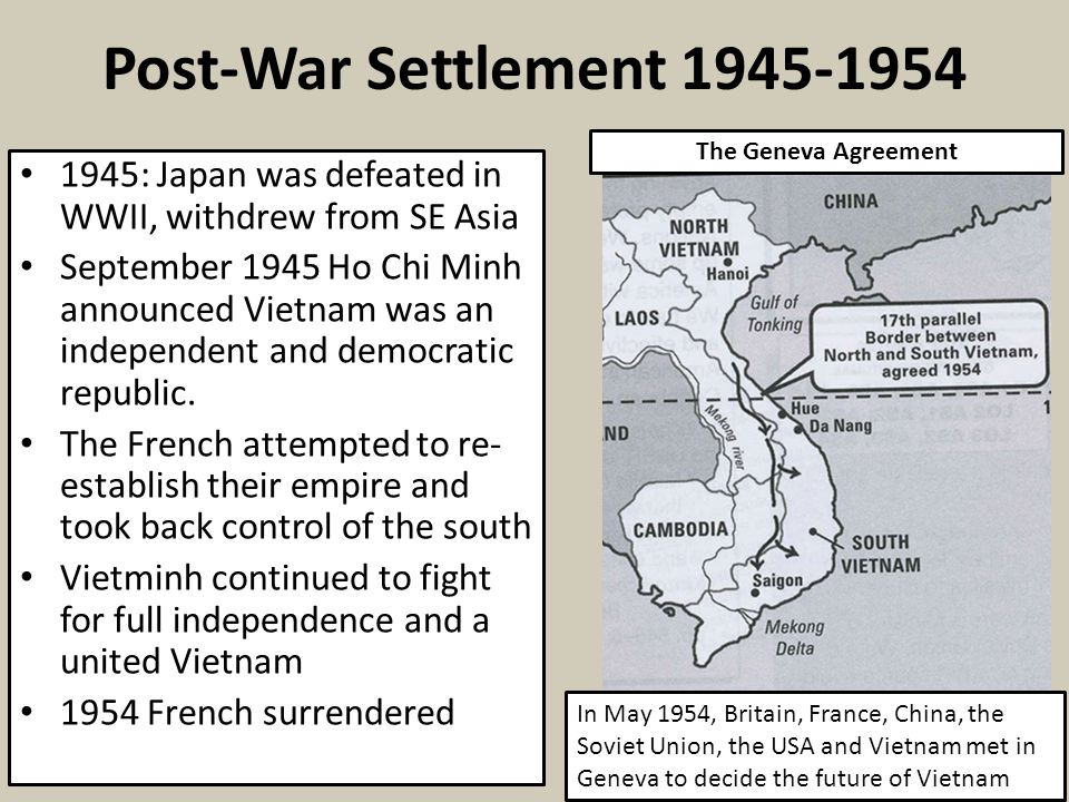 Post-War Settlement 1945-1954 The Geneva Agreement. 1945: Japan was defeated in WWII, withdrew from SE Asia.
