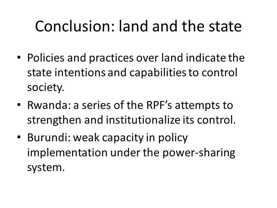 Conclusion: land and the state