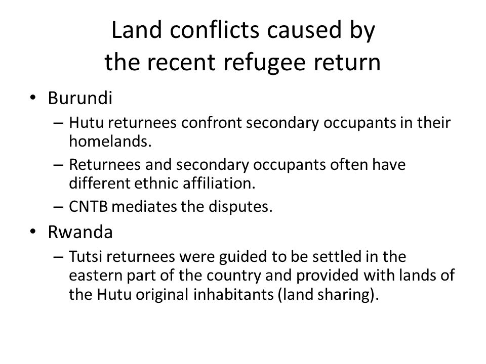 Land conflicts caused by the recent refugee return