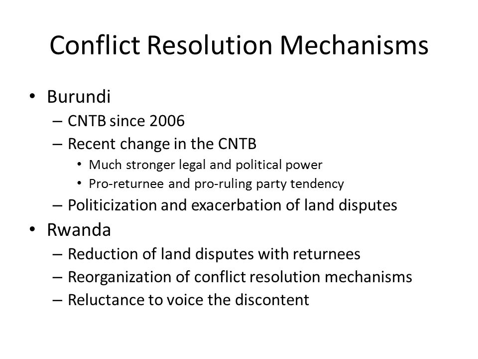 Conflict Resolution Mechanisms