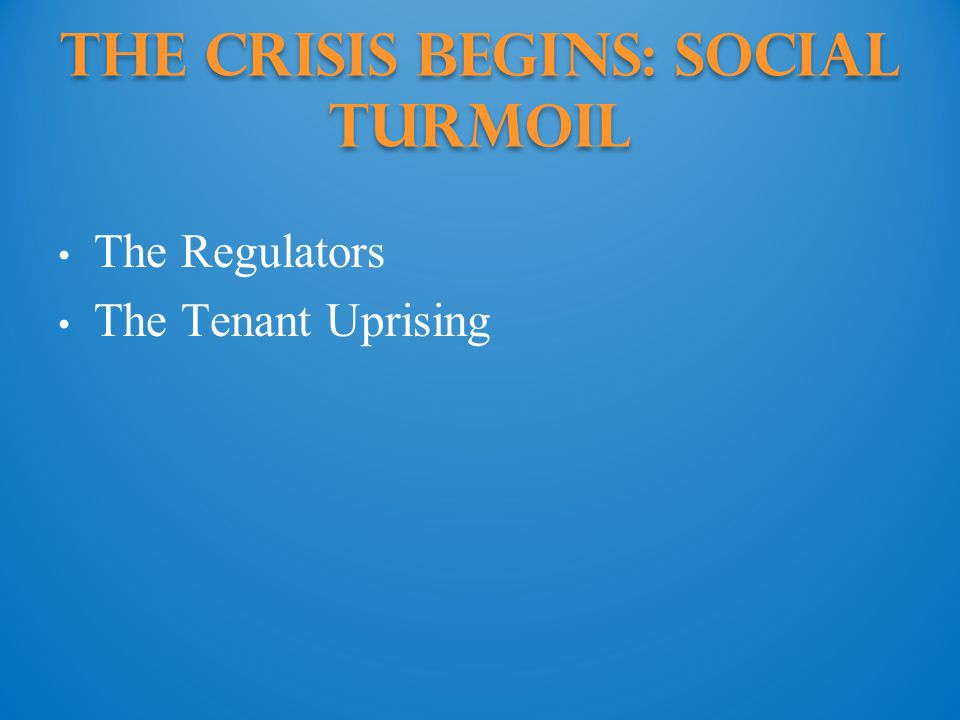 The Crisis Begins: social turmoil