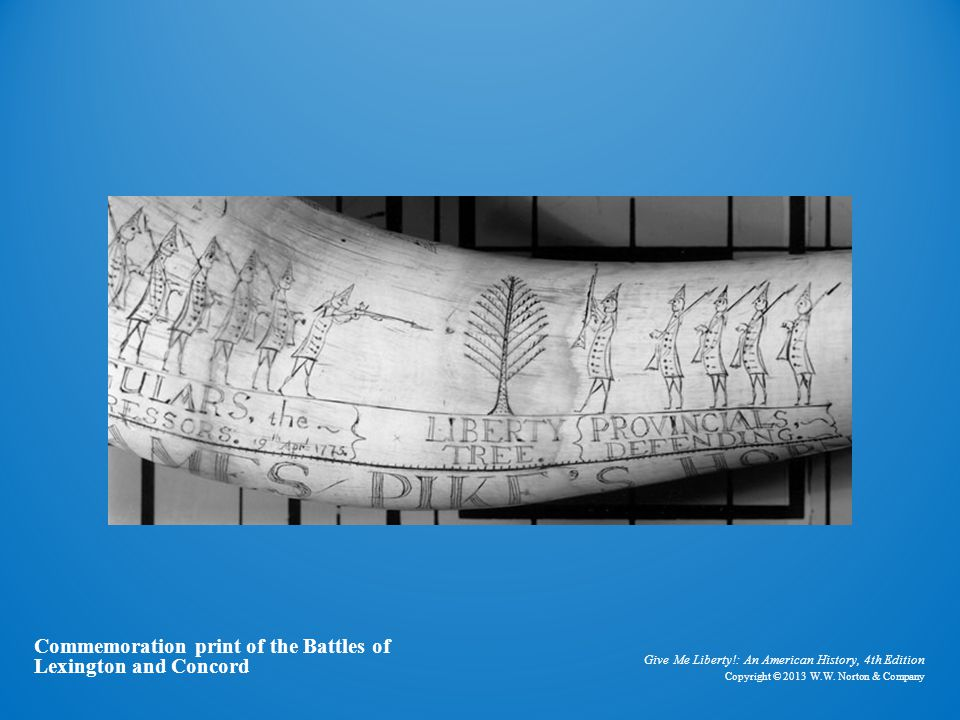 Powder horn Commemoration print of the Battles of Lexington and Concord. Give Me Liberty!: An American History, 4th Edition.