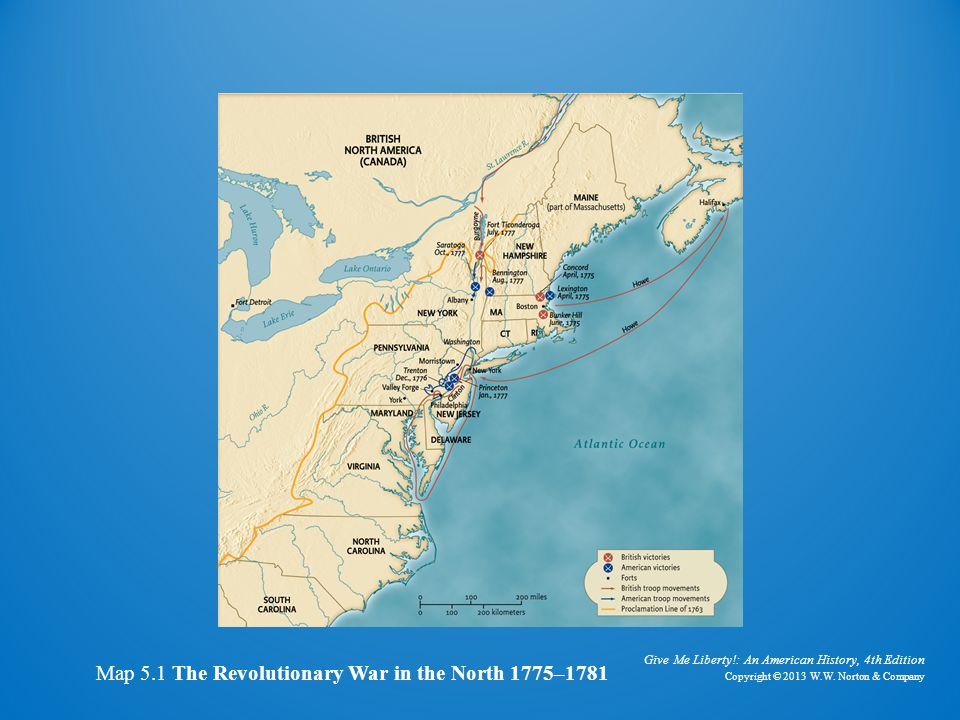 Map of revolutionary war in the north