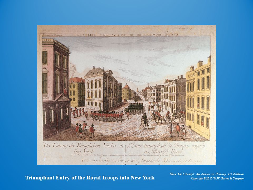 Engraving triumphant entry of the royal troops into new york