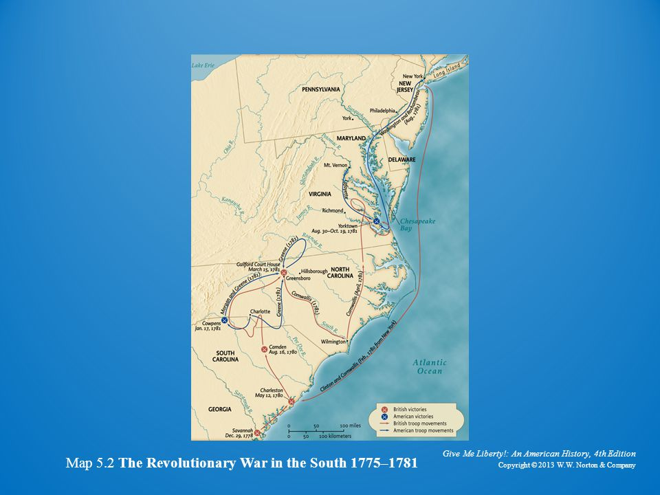Map of revolutionary war in the south