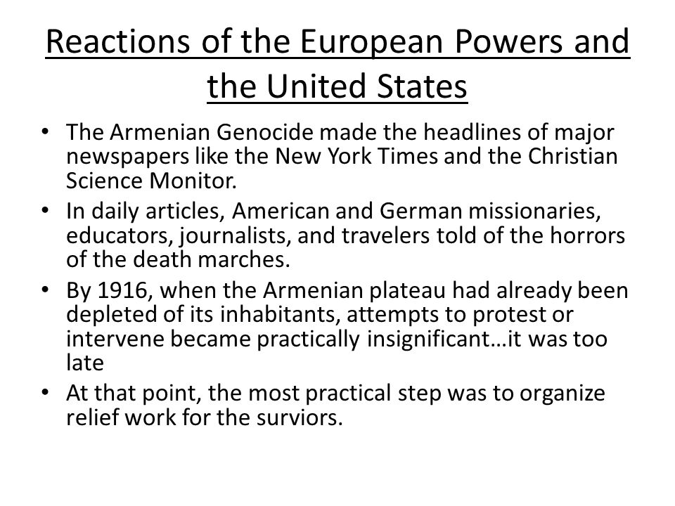 Reactions of the European Powers and the United States