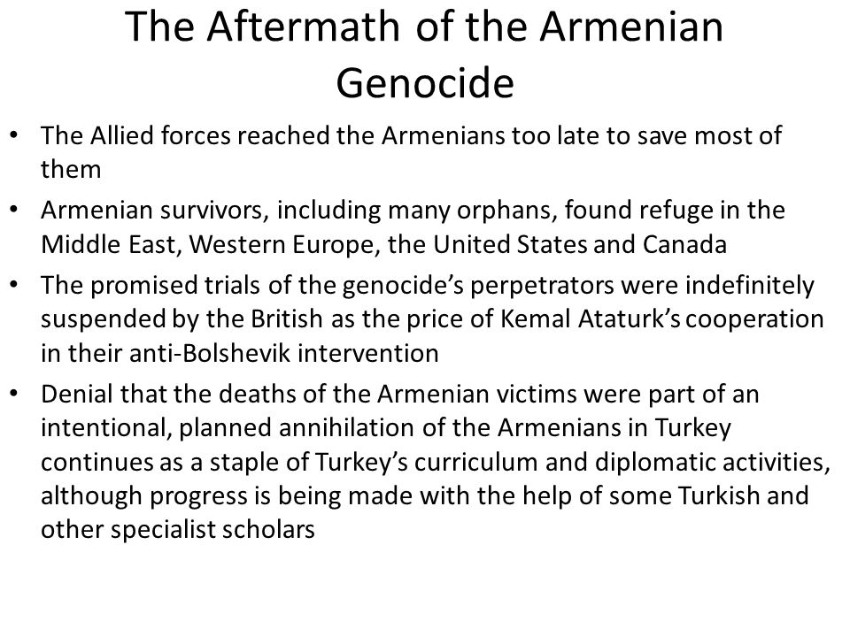 The Aftermath of the Armenian Genocide