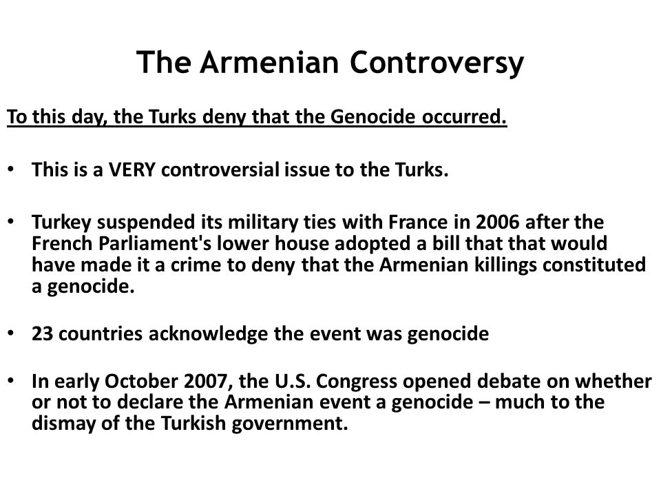 The Armenian Controversy