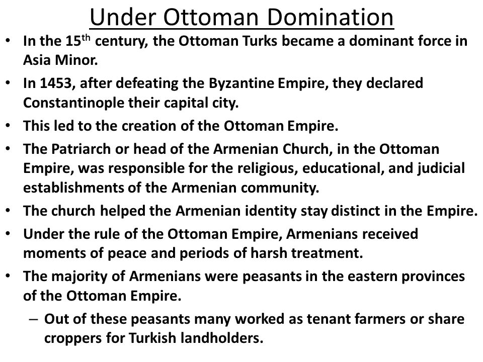 Under Ottoman Domination