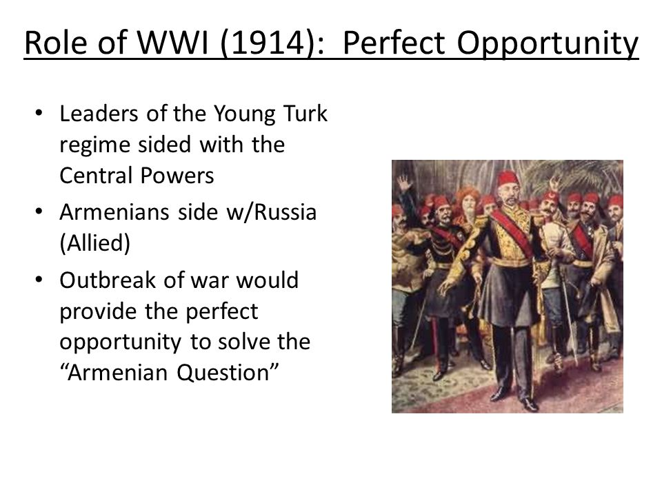 Role of WWI (1914): Perfect Opportunity