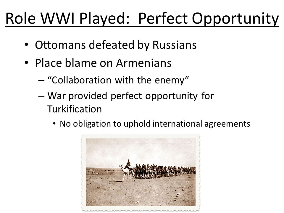 Role WWI Played: Perfect Opportunity