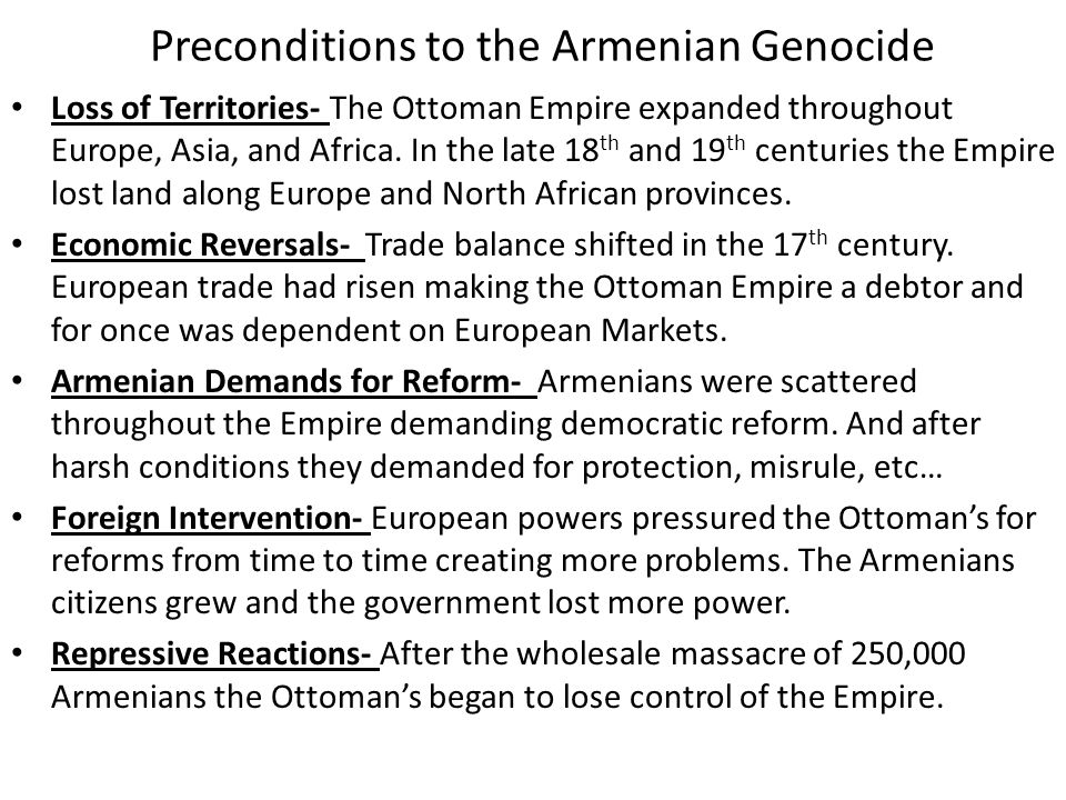 Preconditions to the Armenian Genocide