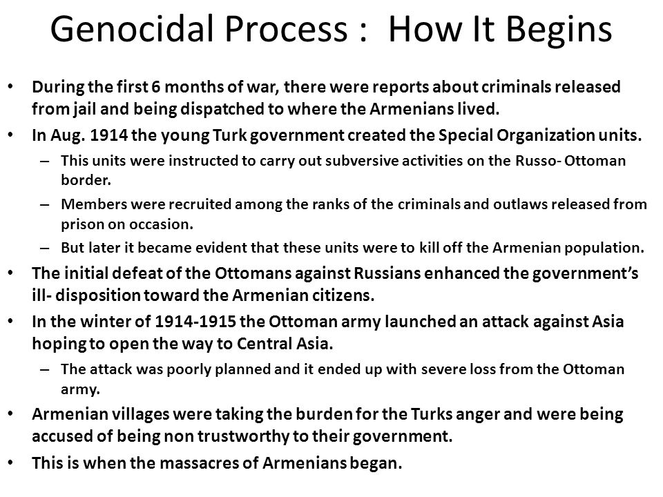Genocidal Process : How It Begins