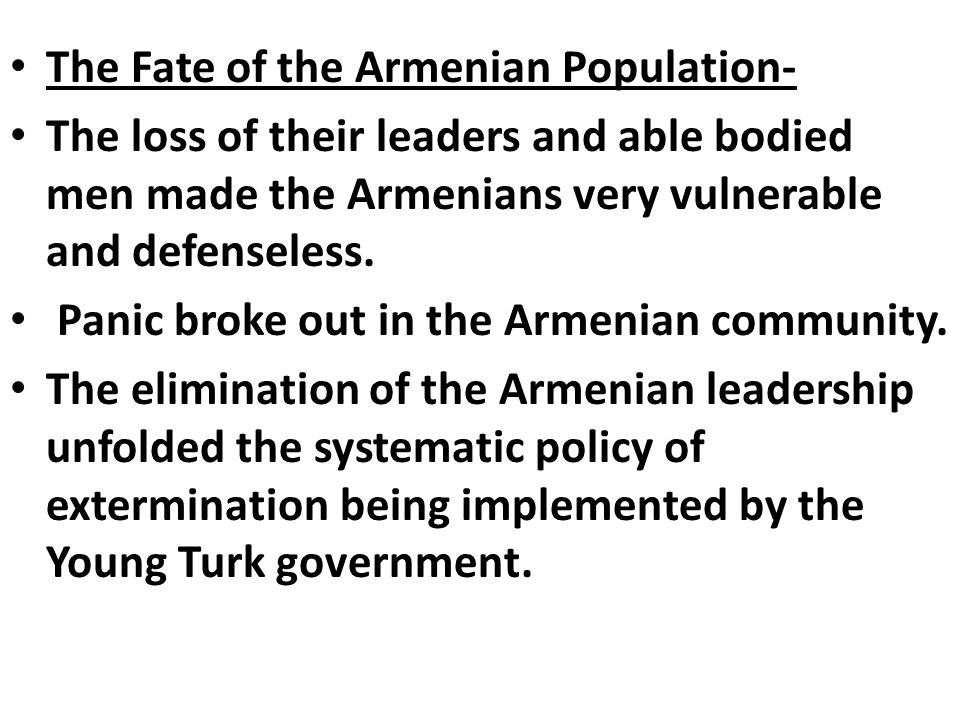 The Fate of the Armenian Population-