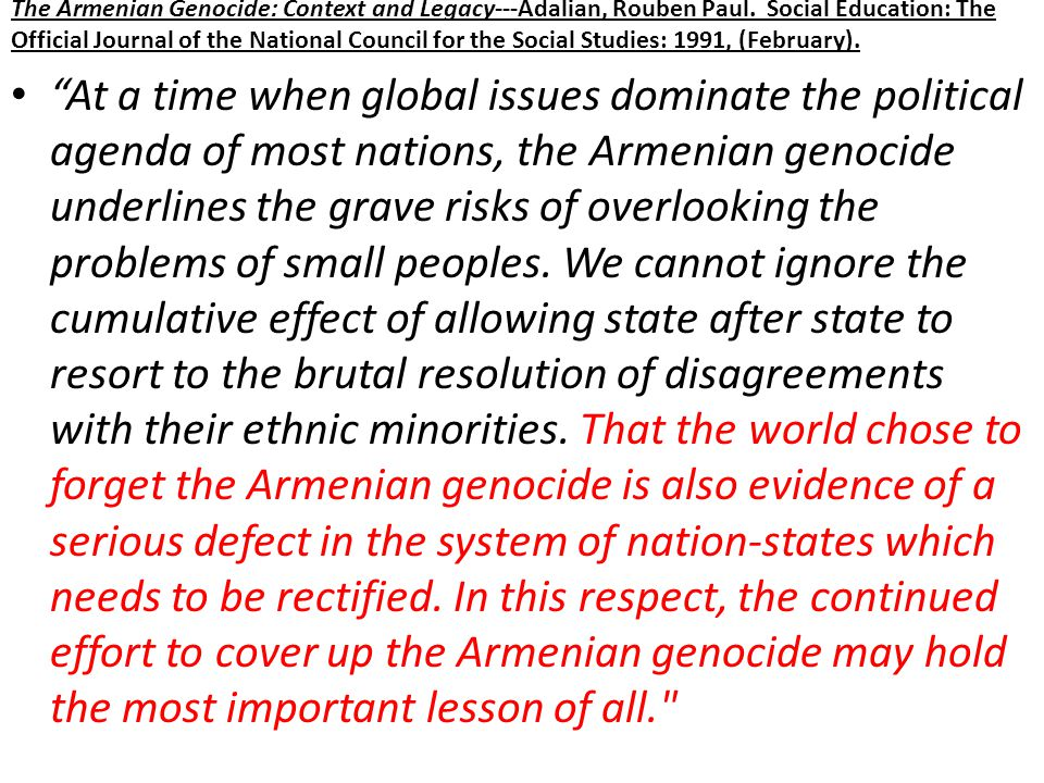 The Armenian Genocide: Context and Legacy---Adalian, Rouben Paul