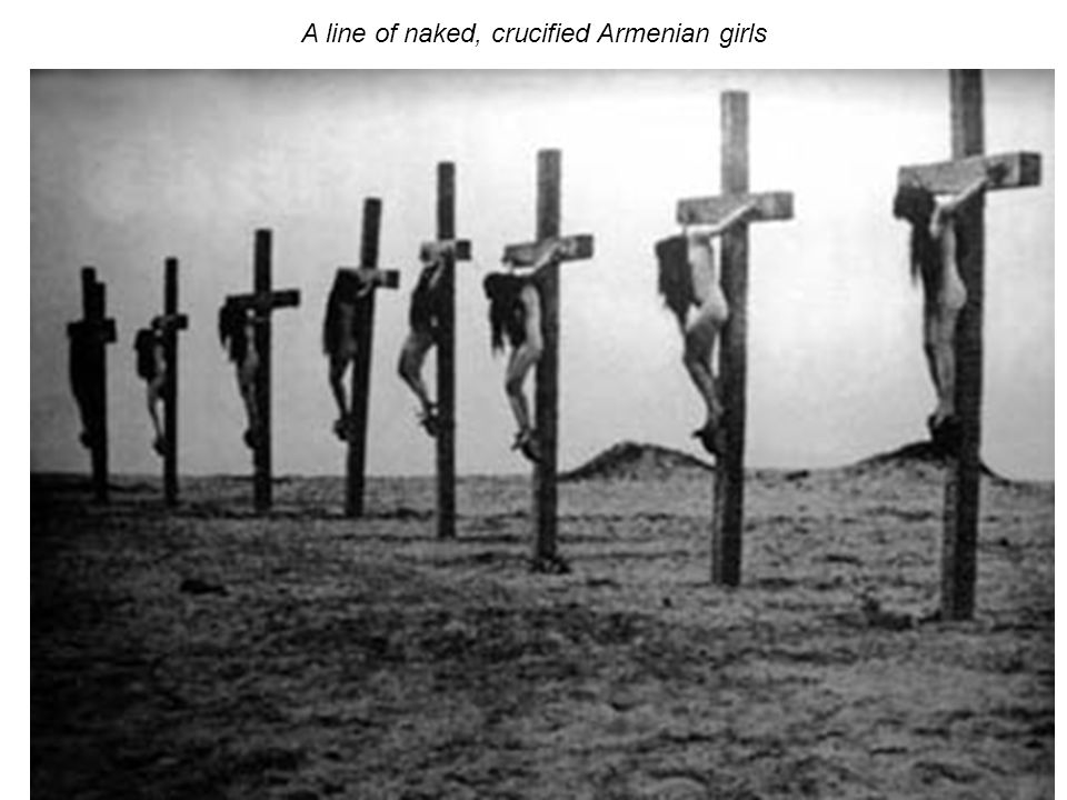 A line of naked, crucified Armenian girls