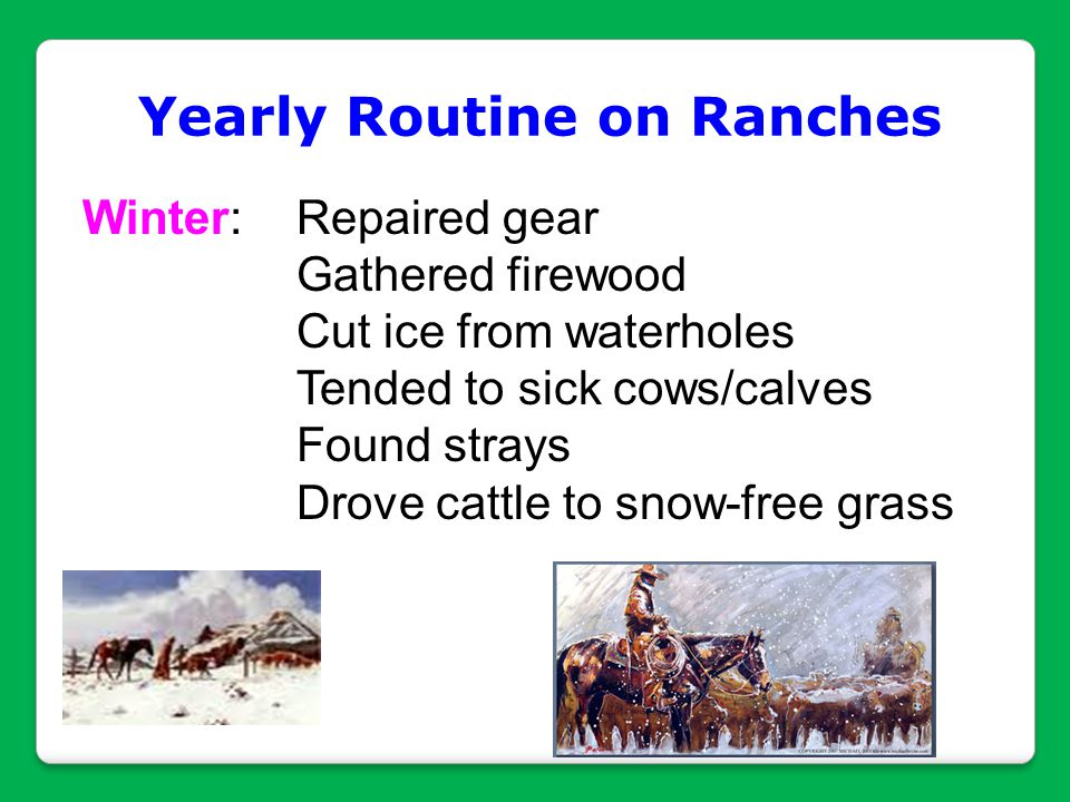 Yearly Routine on Ranches