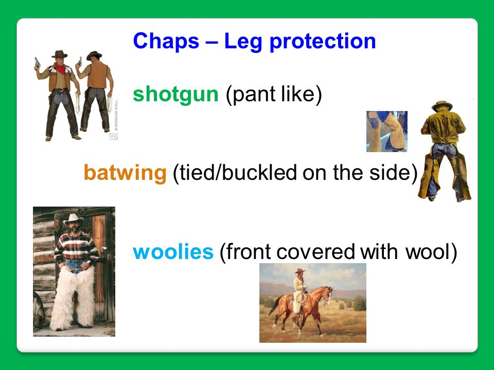 Chaps – Leg protection shotgun (pant like) batwing (tied/buckled on the side) woolies (front covered with wool)