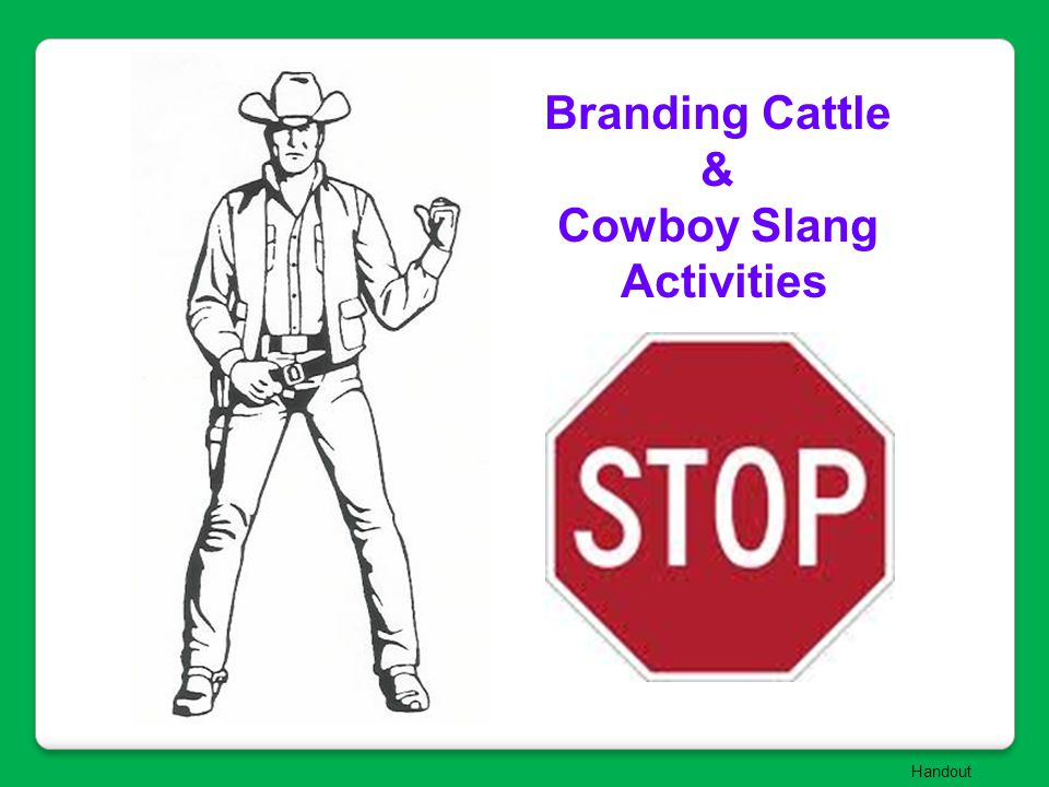 Branding Cattle & Cowboy Slang Activities