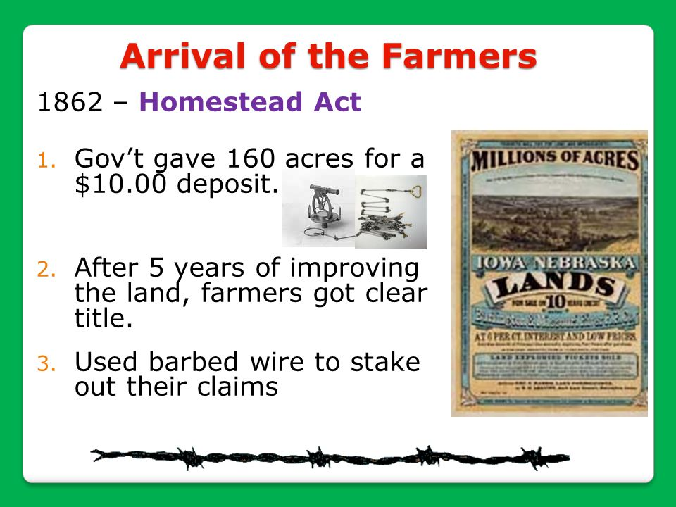 Arrival of the Farmers 1862 – Homestead Act