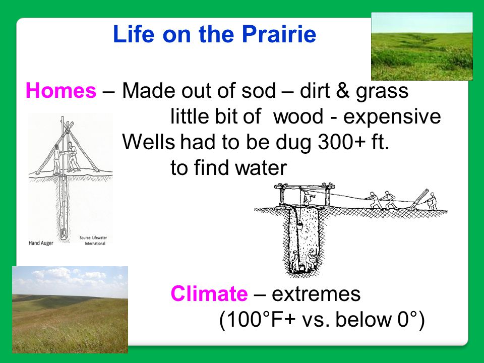 Life on the Prairie Homes – Made out of sod – dirt & grass