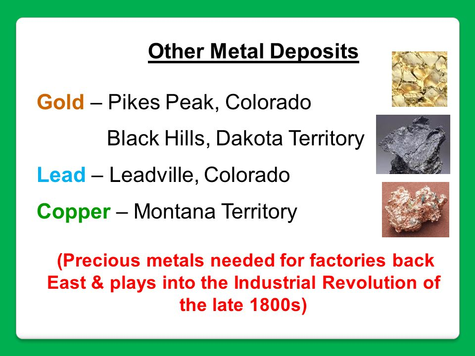 Gold – Pikes Peak, Colorado Black Hills, Dakota Territory