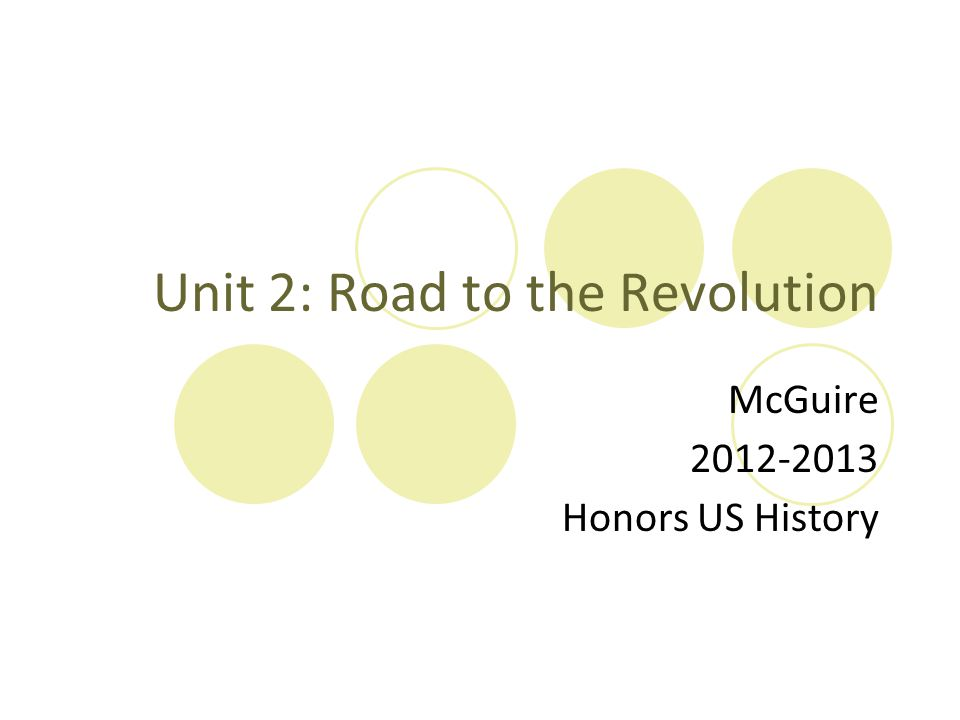Unit 2: Road to the Revolution