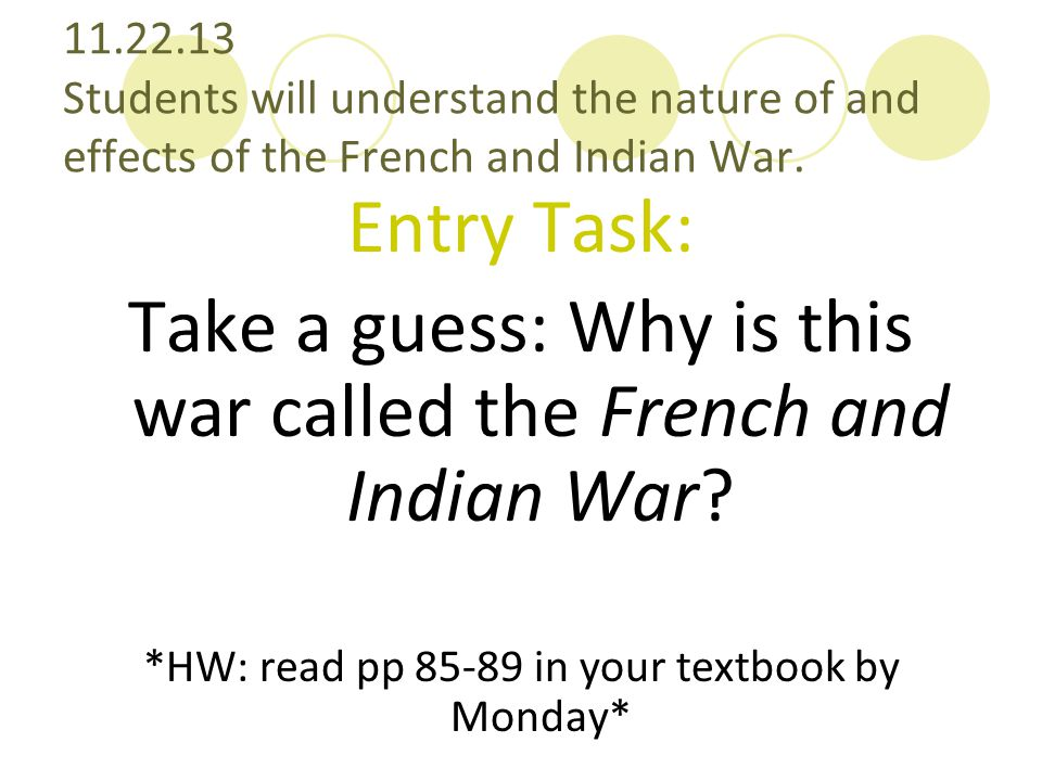 Take a guess: Why is this war called the French and Indian War