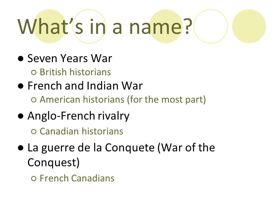 What's in a name Seven Years War French and Indian War