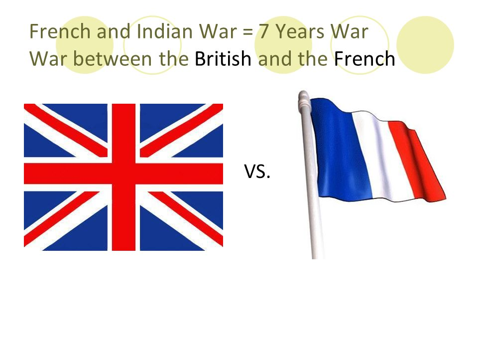 French and Indian War = 7 Years War War between the British and the French