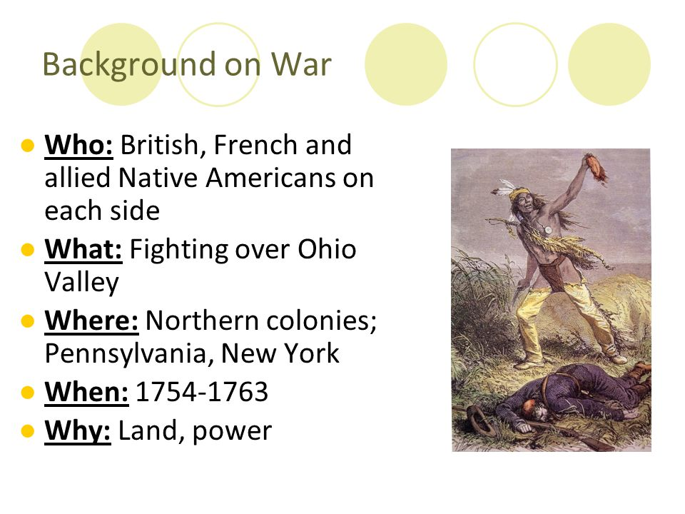 Background on War Who: British, French and allied Native Americans on each side. What: Fighting over Ohio Valley.