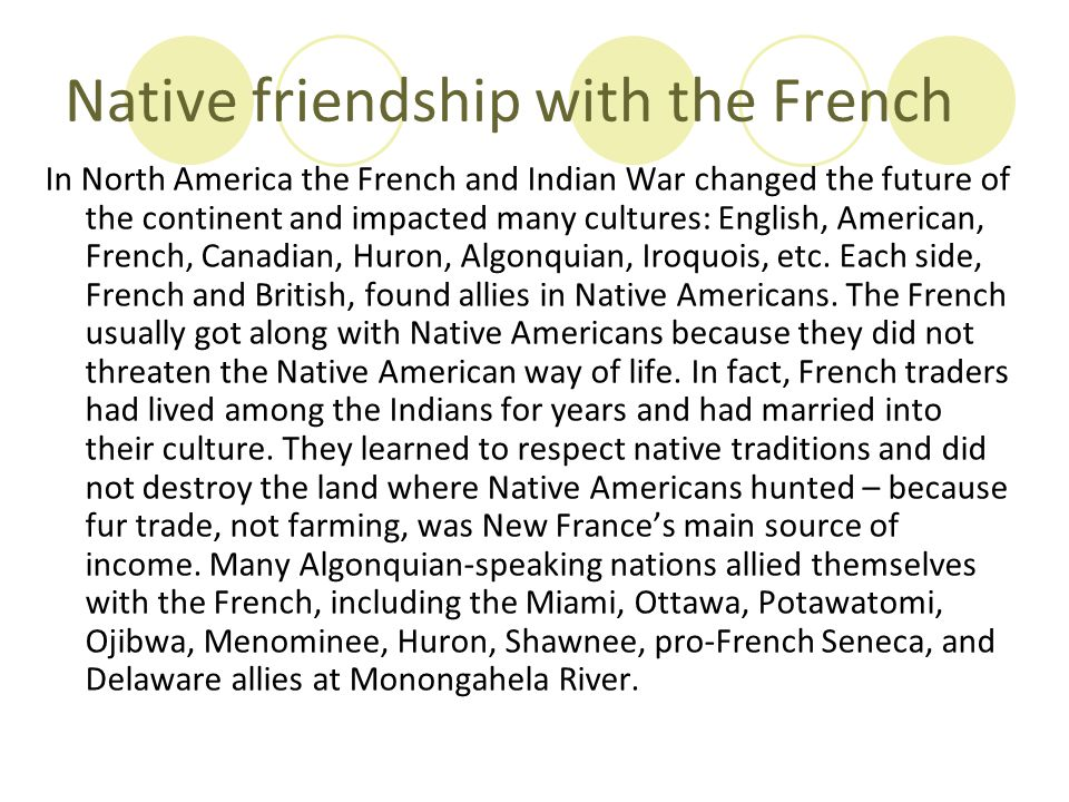 Native friendship with the French