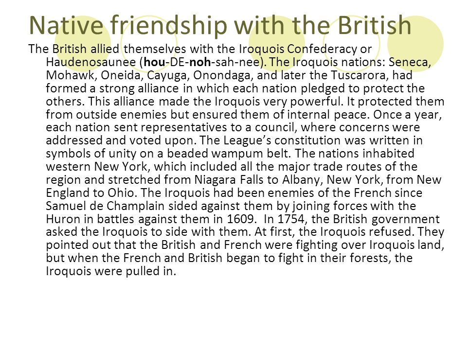 Native friendship with the British
