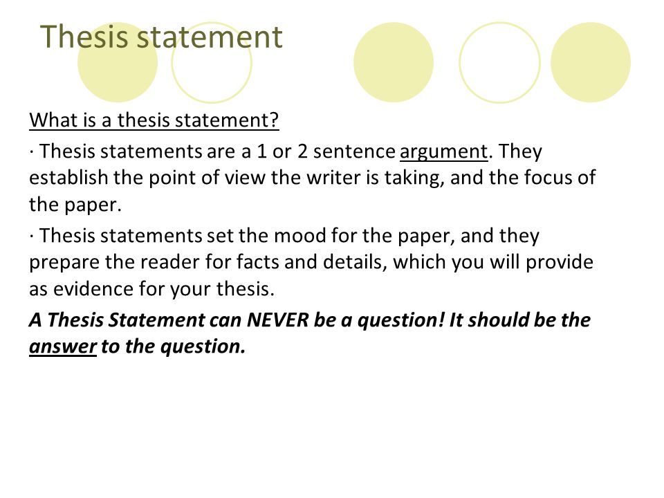 Thesis statement What is a thesis statement