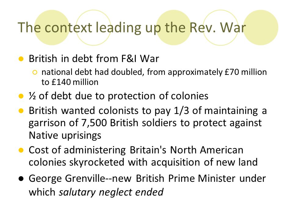The context leading up the Rev. War
