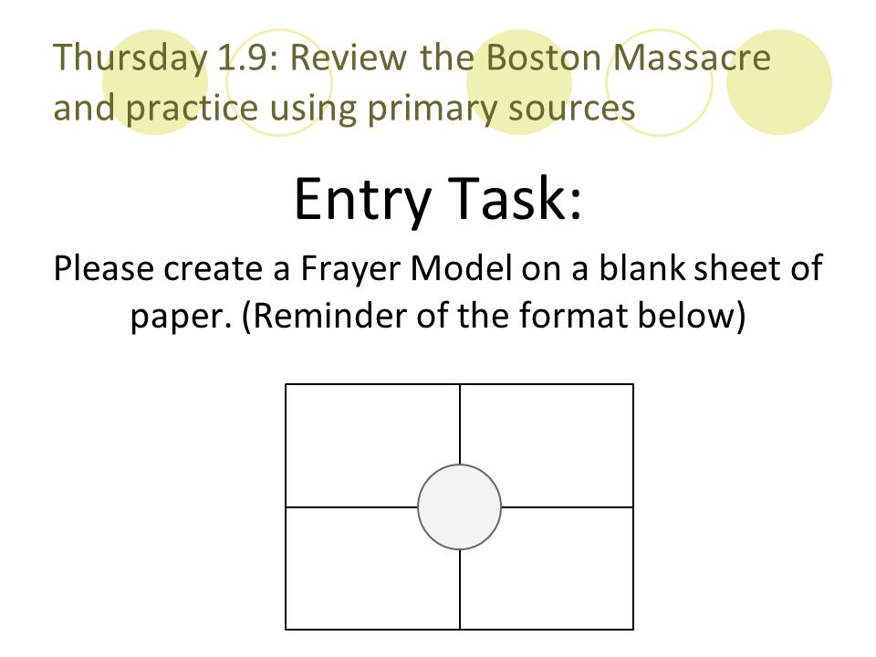 Thursday 1.9: Review the Boston Massacre and practice using primary sources