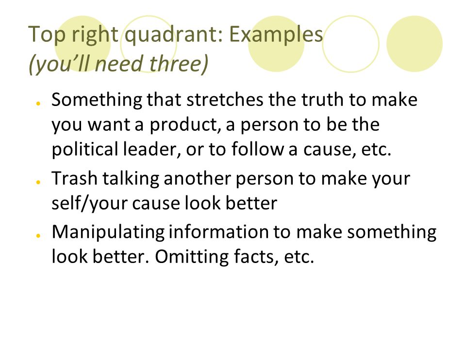 Top right quadrant: Examples (you'll need three)