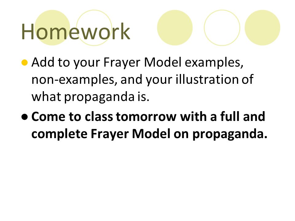 Homework Add to your Frayer Model examples, non-examples, and your illustration of what propaganda is.