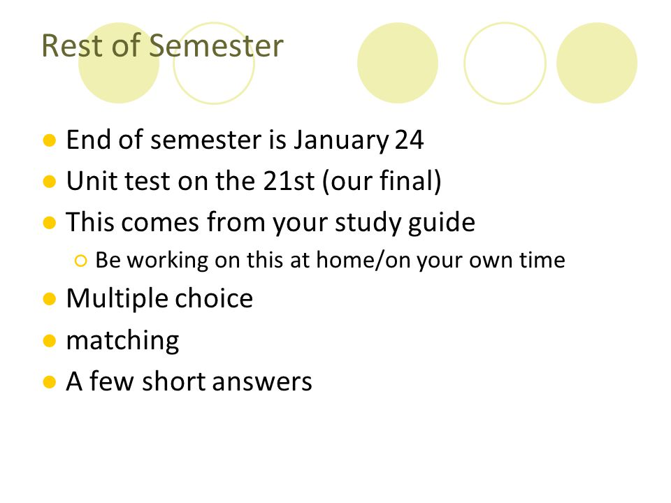 Rest of Semester End of semester is January 24