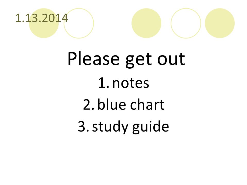 1.13.2014 Please get out notes blue chart study guide