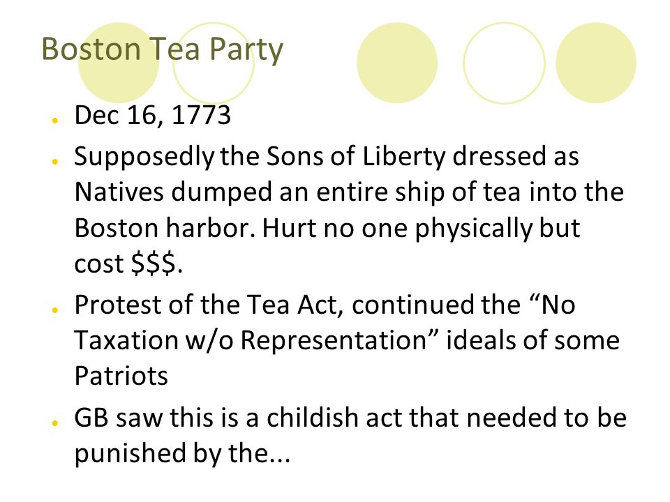 Boston Tea Party Dec 16, 1773.