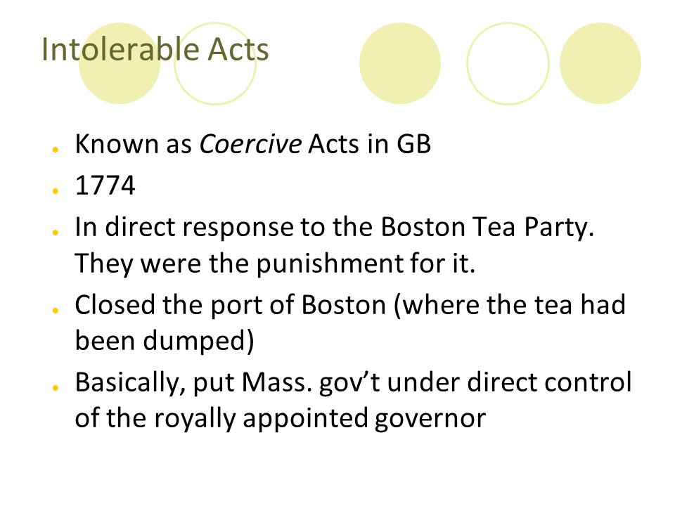 Intolerable Acts Known as Coercive Acts in GB 1774